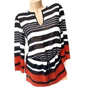Michael Kors V Neck Sheer Striped Tunic Top XS
